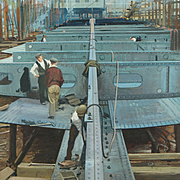 John Berry Watercolor British Industrial Ship Building Artist Illustrator Ladybird Books Circa 1950