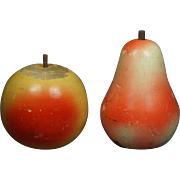 19th Century Carved Wood Painted Fruit Apple and Pear Money Box Pair Folk Art French Circa 1890