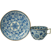 Antique Circa 1820 English Blue and White Transferware Cup and Saucer Pearlware Adams Tendril Pattern Georgian