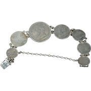 Antique Large Sterling Silver Coin Bracelet George 1 1720s Shilling George IV 1824 Shilling and Victorian South African 2 1/2 Shillings and others