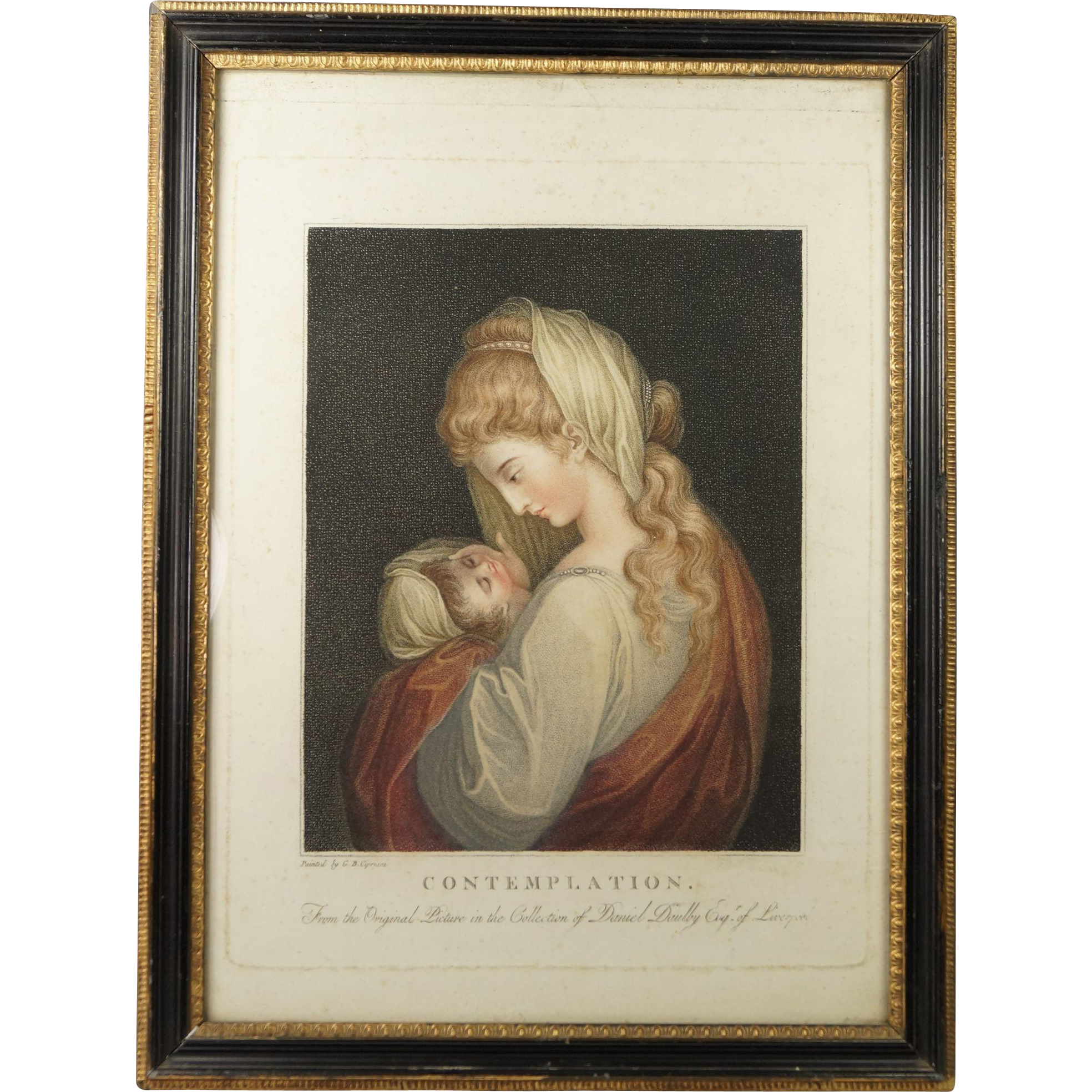 18th Century Georgian Mezzotint Engraving Contemplation after Cipriani English Circa 1791