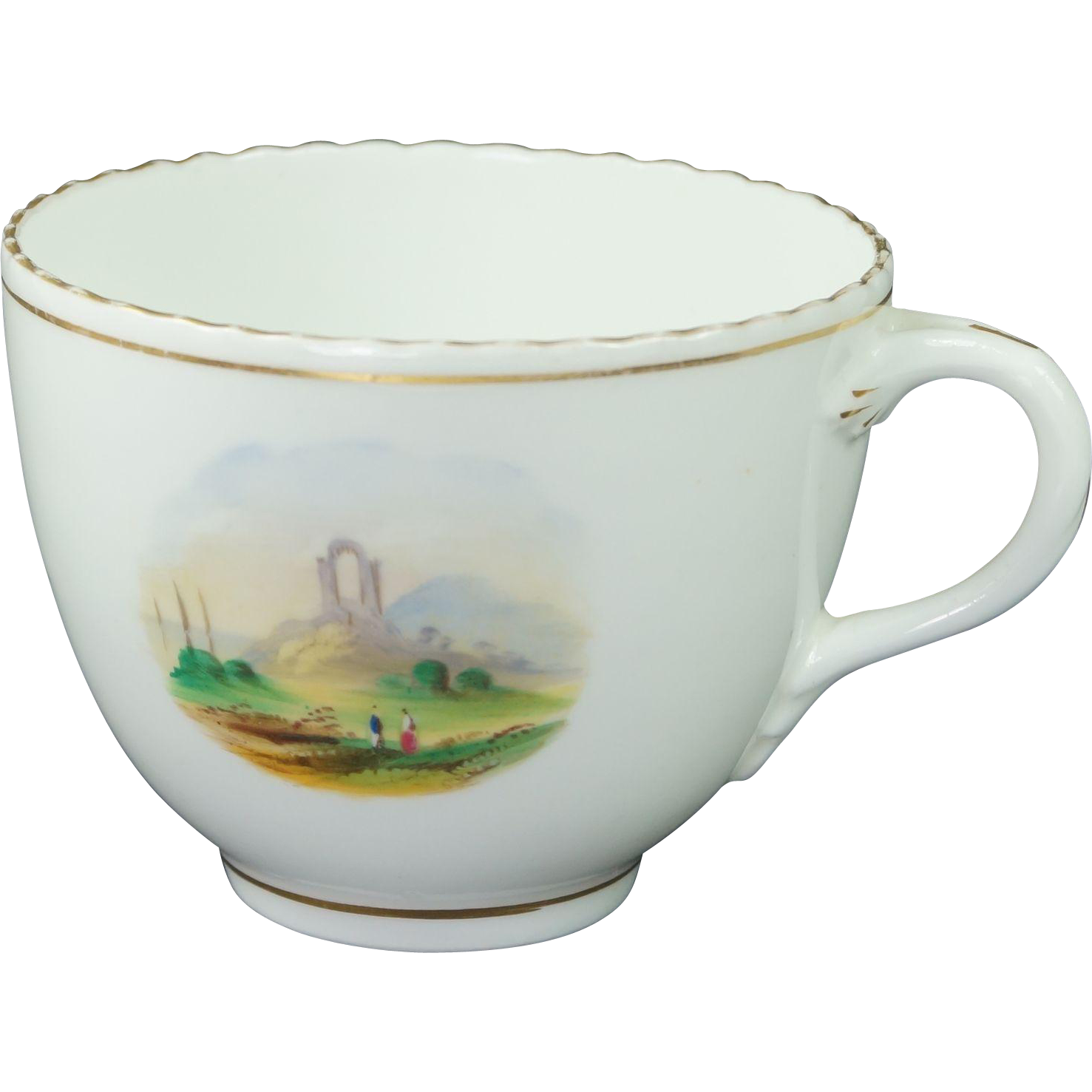 Early 19th Century English Porcelain Cup Hand Painted Landscape Scene Circa 1830