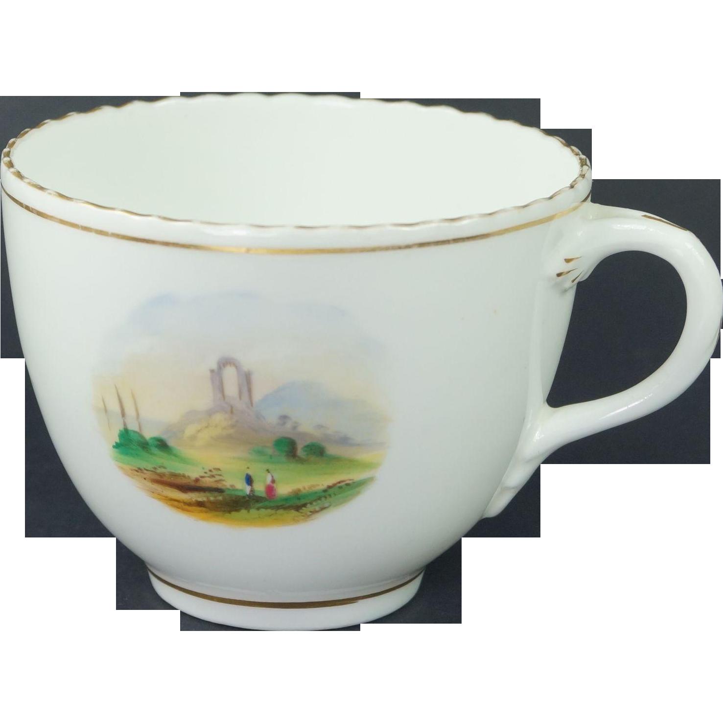 Antique Circa 1830 Porcelain Cup Hand Painted Landscape Scene English