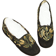 19th Century Childrens Shoes Native North American Canadian Moose Hair Embroidered Circa 1830 RARE
