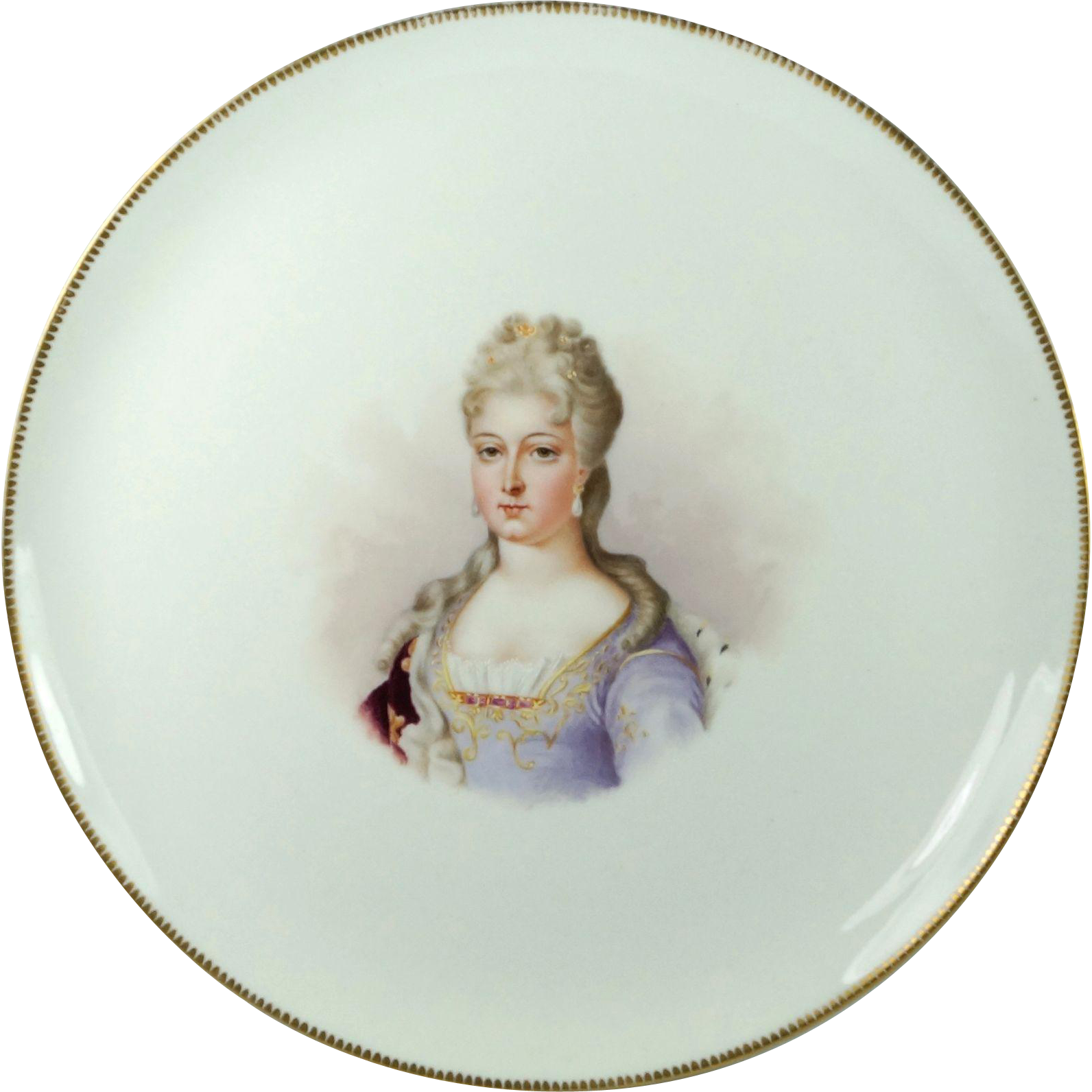 Antique Chateau Des Tuileries Hand Painted Porcelain Plate Duchesse Du Berry Signed Dated 1888