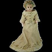 "Antique Wax Portrait Doll 19th Century 13"""