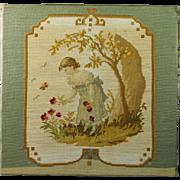 Antique Woolwork Needlework Needlepoint Edwardian Art Nouveau 1910