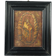 17th Century Icon Straw Work Marquetry Collage Religious Panel Madonna and Child Circa 1600s