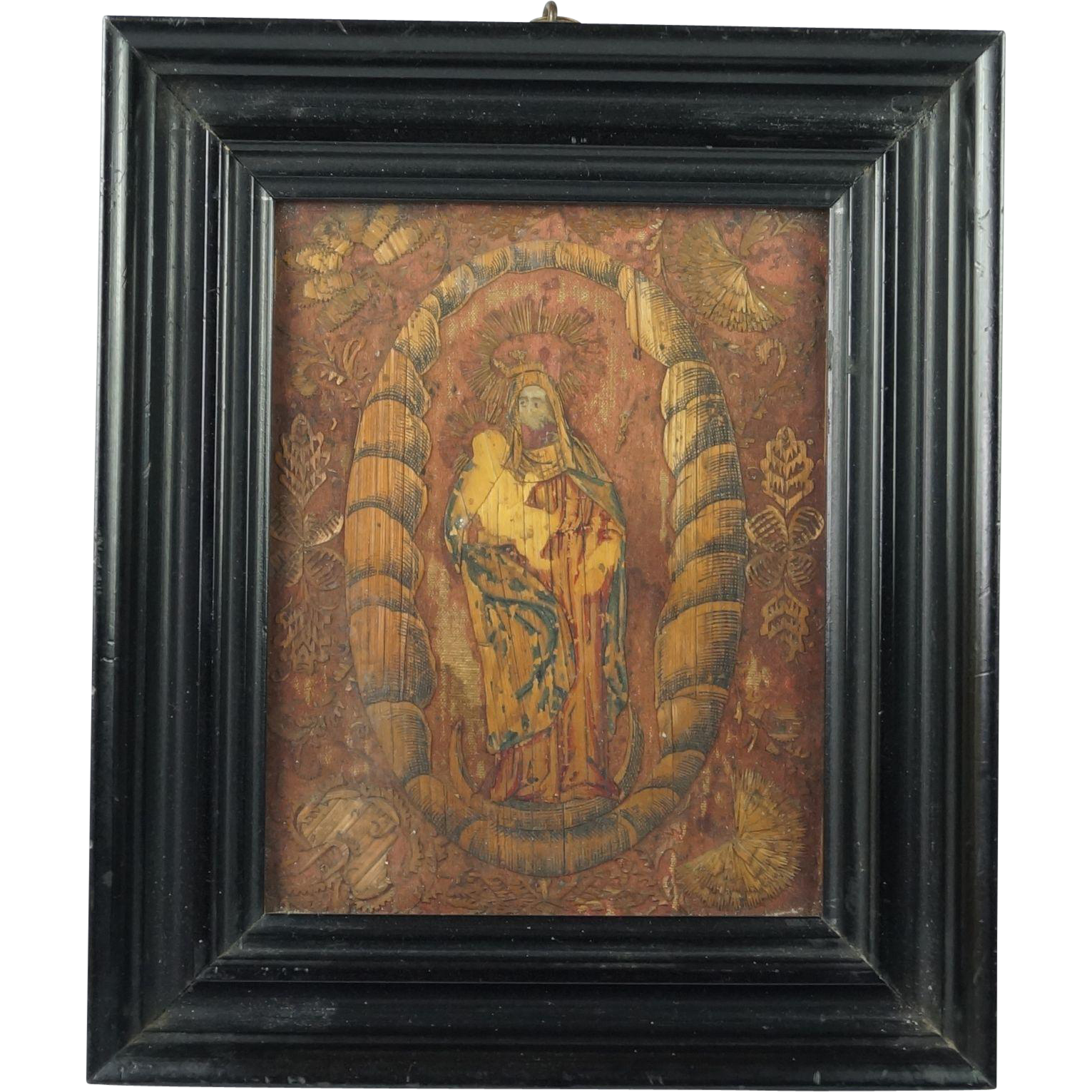 17th Century ICON Straw Work Marquetry Religious Panel Madonna and Child Circa 1600s