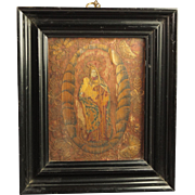 French 17th Century Icon Straw Work Marquetry Devotional Panel Circa 1600s