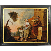 18th century Reverse Painting On Glass German Circa 1770 Expulsion of Hagar and Ishmael by Abraham Museum Condition