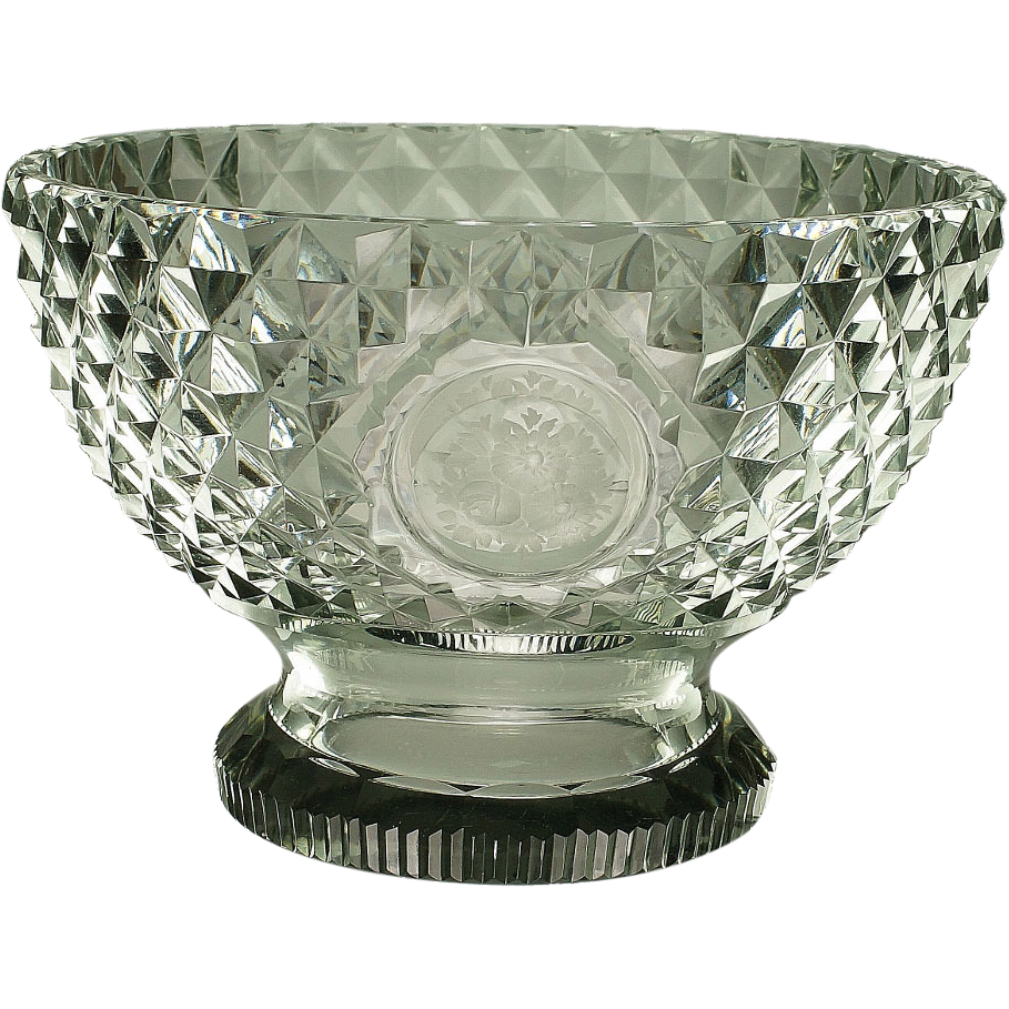 Circa 1800 Cut Glass Bowl Compote English Georgian Era