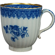 Antique English 18th Century Blue and White Transferware Pearlware Coffee Cup 1780's Georgian AF