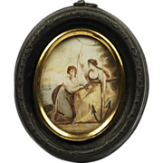 RESERVED CM Antique Georgian Miniature Mourning Painting of Hope English 18th Century Circa 1780 AF