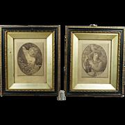 Antique 18th Century Georgian Pair Miniature Stipple Engraving English Circa 1780