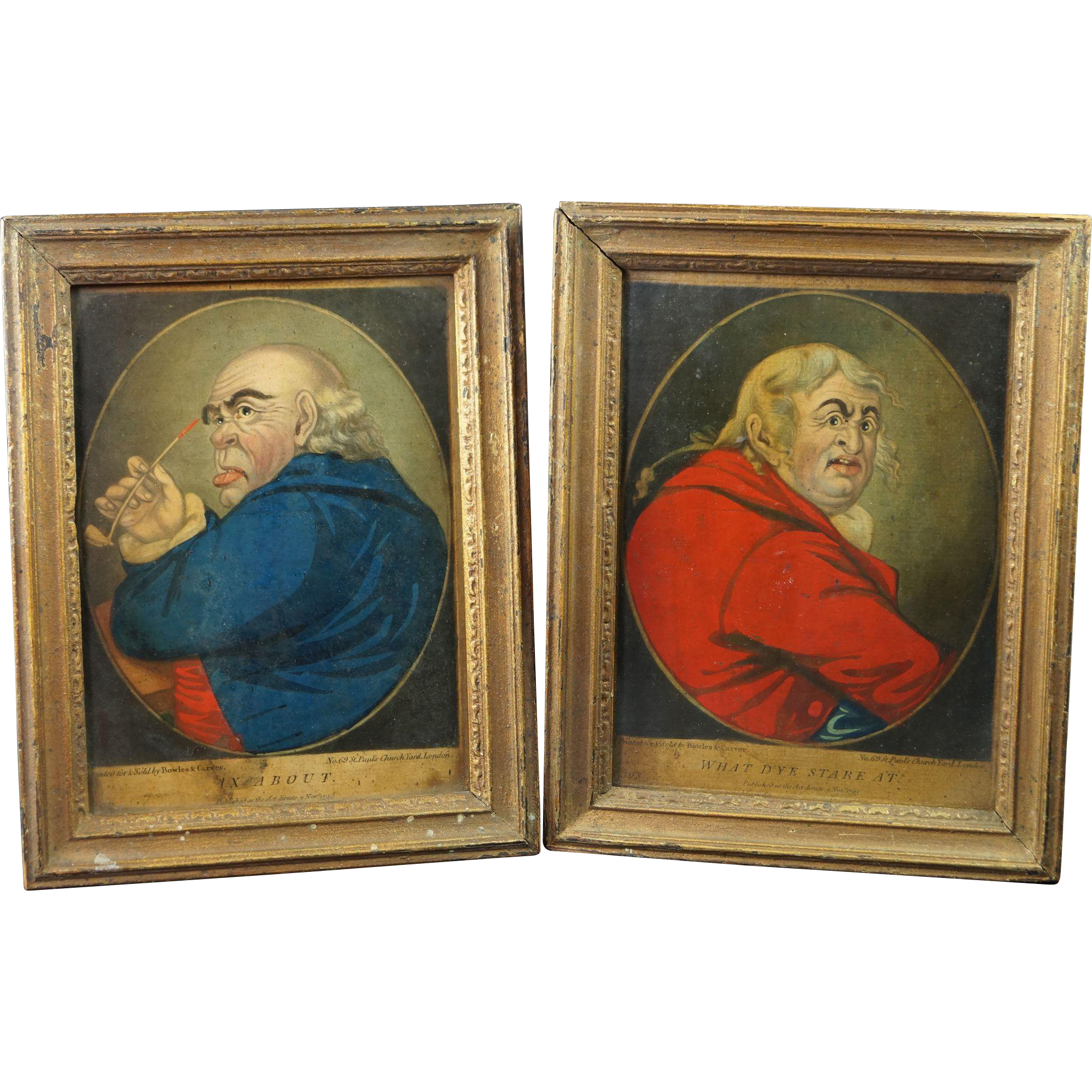 Rare Georgian Mezzotint Droll Pair Satirical Bowles and Carver Dated 1795