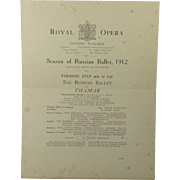 1912 Ballets Russes Ballet Program Including Nijinsky Karsavina Diaghilev Royal Opera Season Of Russian Ballet July 9th