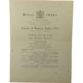 1912 Ballets Russes Ballet Program Including Nijinsky Karsavina Diaghilev Royal Opera Season Of Russian Ballet July 9th