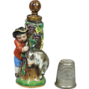 Antique 19th Century Miniature Meissen Porcelain Scent Perfume Bottle Circa 1850s