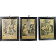 Antique English 18th Century Miniature Engraving Trio Georgian Circa 1790