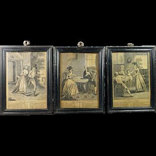 Antique English 18th Century Miniature Engraving Trio Georgian Circa 1790