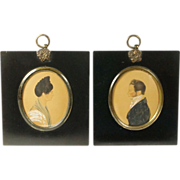 Antique Georgian Portrait Miniature PAIR Original Frames Circa 1810 - Red Tag Sale Item