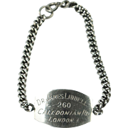 Unusual English Silver Identity Bracelet Dr James Liddell Pentonville Prison Connection Circa 1940