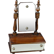 Antique Miniature Toilet Mirror With Drawer FF Doll Size Circa 1870
