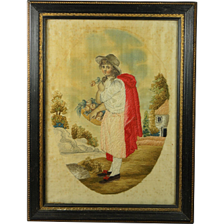 Early 19th Century Georgian Silkwork Needlework Embroidery English Circa 1810