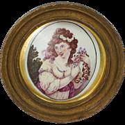 Antique Miniature Portrait On Porcelain After Kauffmann Georgian Circa 1790