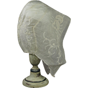 Antique 19th Century Ladies Hand Embroidered Ayrshire Lawn Indoor Coif Bonnet Whitework Pulled Thread Work Cap Circa 1810