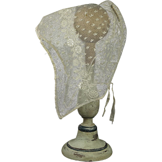 Pretty Circa 1820 Regency Lace Cap Bonnet Embroidered Net Ground English