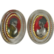 Georgian Glass Salt PAIR Reverse Painted Portraits Bohemian Circa 1810 - Red Tag Sale Item