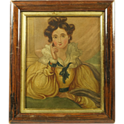 Antique Circa 1830 Portrait English School Oil On Panel Beautiful