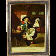 18th Century Reverse Print On Glass The English Coachman by Carington Bowles Circa 1769