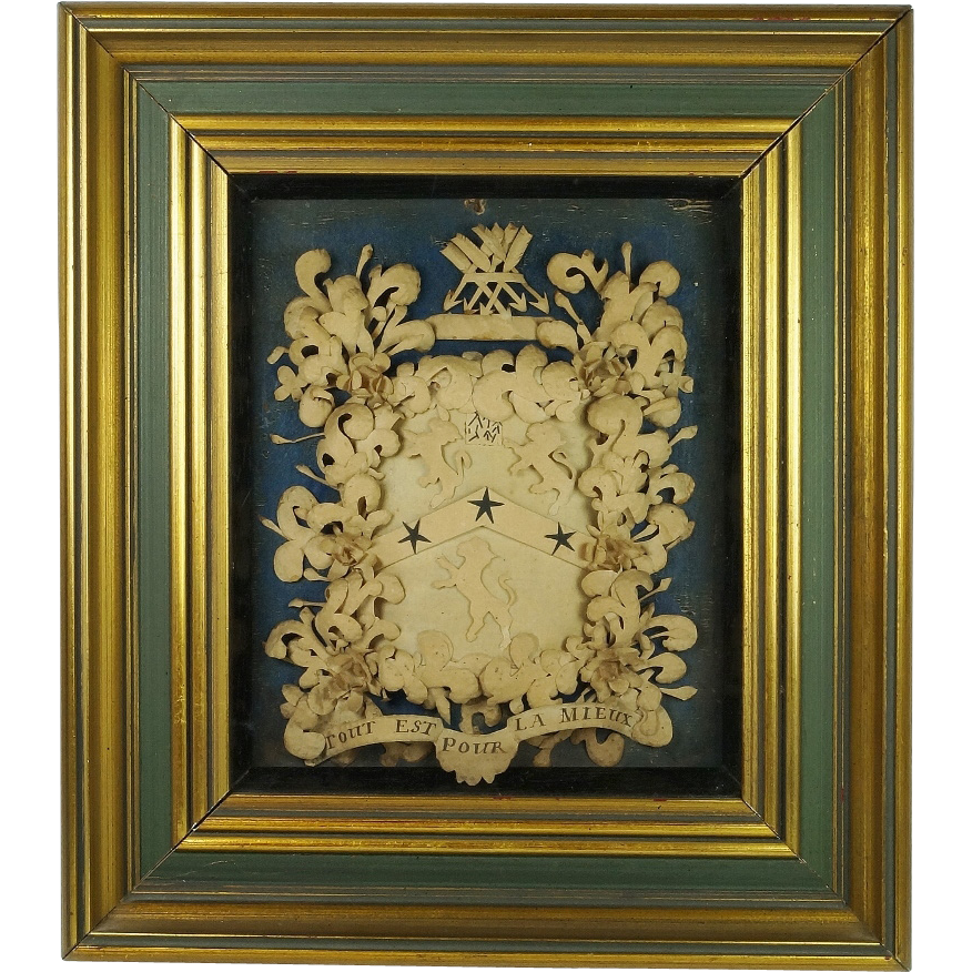 Antique 18th Century Cut Paper Picture Coat of Arms Rare English Armorial Circa 1700s
