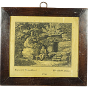 Antique 18th Century Miniature Thomas Bewick Wood Engraving on Silk Satin Rare 1796 Northumberland England
