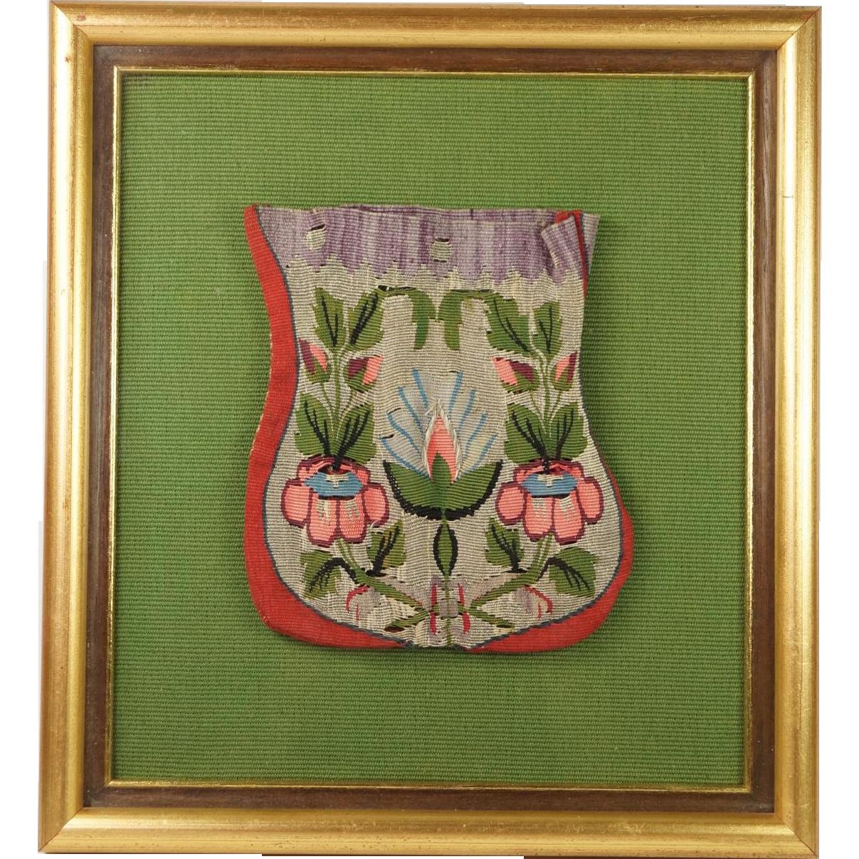 Antique 18th Century Reticule Purse Silk Tapestry Weave Framed Circa 1795