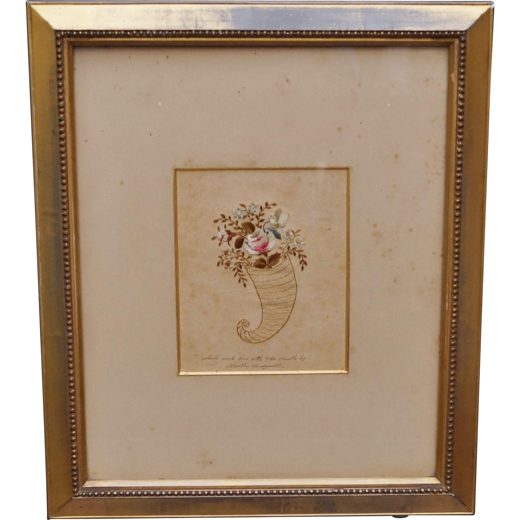 Georgian Needlework On Paper Martha Honeywell Circa 1810 RARE American Folk Art