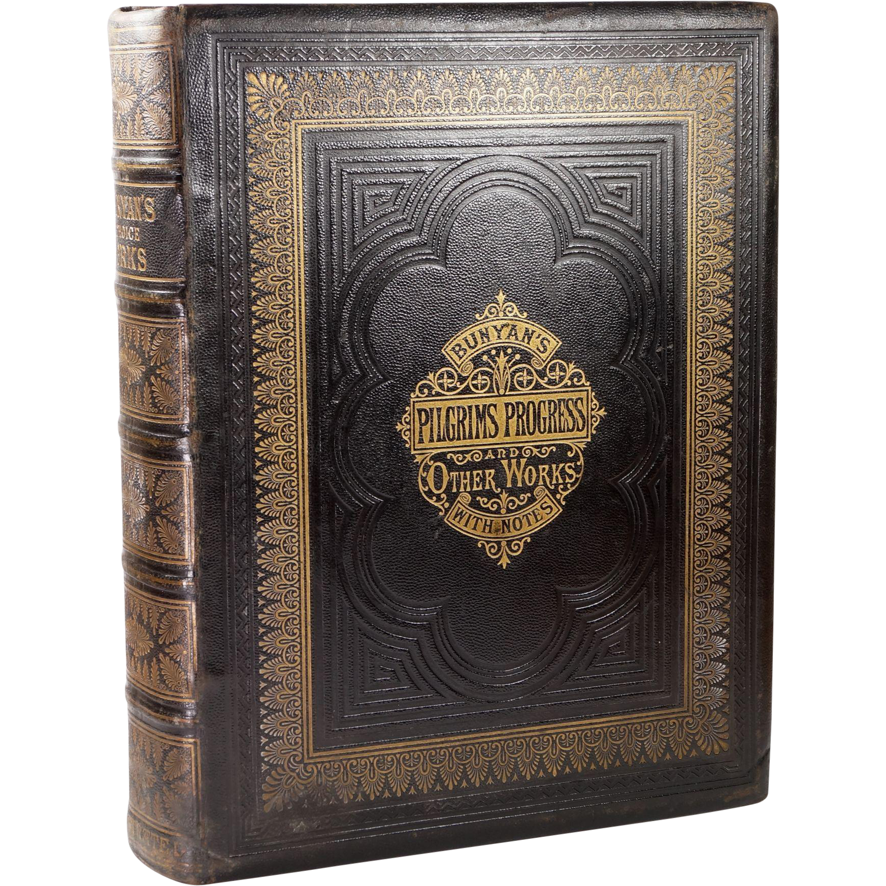 Antique Bunyan's Choice Works Tooled Leather Religious Book HUGE Circa 1870