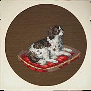 Antique Victorian Dog Beadwork Dash Queen Victoria's King Charles Spaniel 1860s Unframed