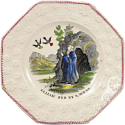 19th Century Staffordshire Childrens Plate Transferware Pearlware Elijah Fed By Ravens Circa 1830