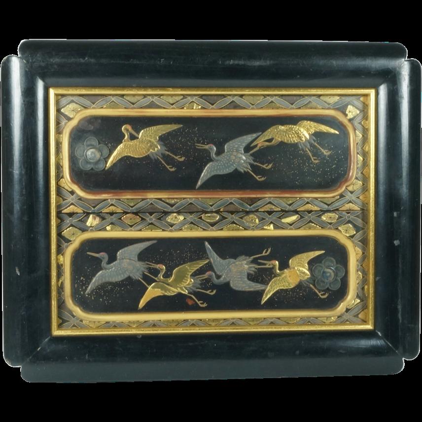 Antique Circa 1800 Japanese Maki-e Lacquer Panels Edo Period