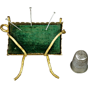 19th Century French Pin Cushion Green Velvet Gilt Ormolu Napoleon III Circa 1860