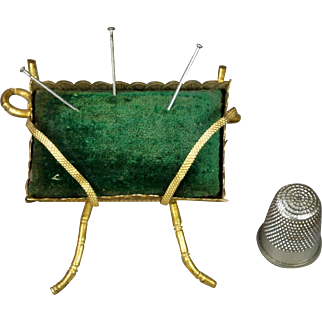 Antique 19th Century French Pin Cushion Green Velvet Gilt Ormolu Napoleon III Circa 1860