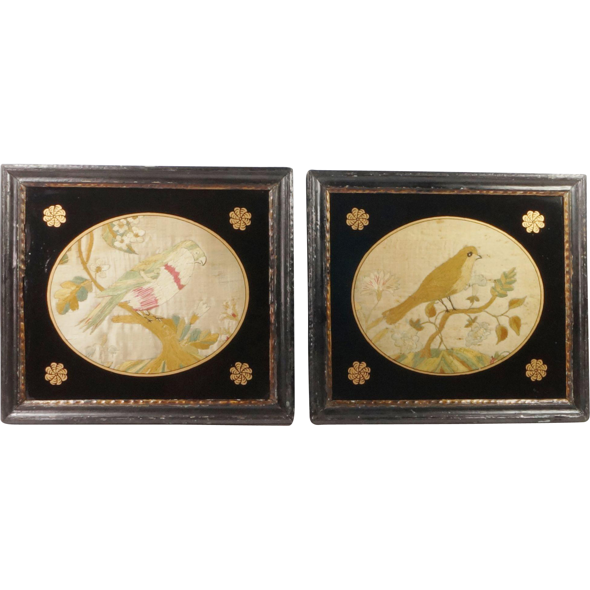 Antique 18th Century Miniature Silkwork Needlework Bird Pair Rare English Circa 1780's Georgian