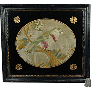 Antique Georgian Silkwork Embroidery English Bird Circa 1780 Small Size