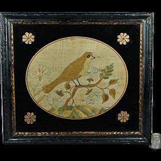 Antique 18th Century Silkwork English Bird, Small Georgian Example, Circa 1780