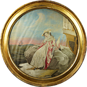 Georgian Silkwork Embroidery of Consolation English Circular Maritime Scene by Miss Ann Charlton Circa 1790's