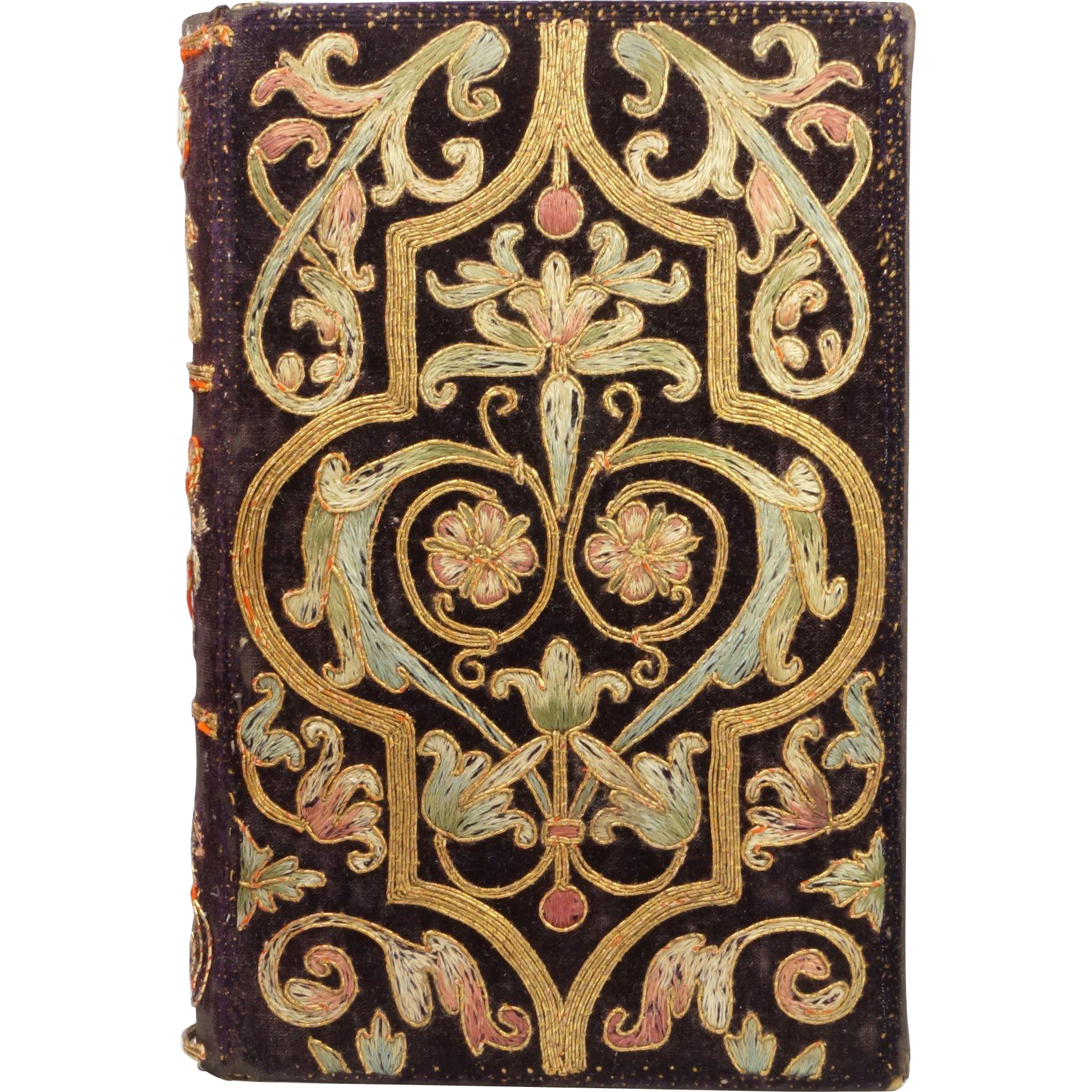 19th Century Embroidered Bookbinding The Holy Grail Alfred Tennyson 1870  Rare Embroidered Book Cover
